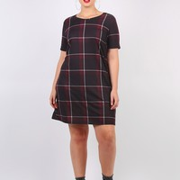 Plus Maisy Check Dress in Navy & Burgundy