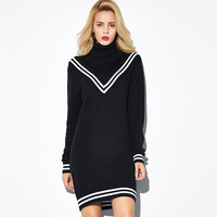 V Line Pattern Long Sleeve Turtleneck Mini Black Dress