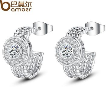 Real White Gold Color Round Stud Earrings with AAA Zircon For Women Jewelry YIE078