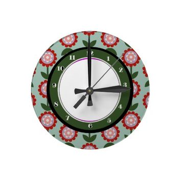 Floral Pair - Vintage blue, green, red Wall Clock
