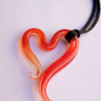 Murano glass heart red and clear glass on silk cord, Handcrafted in Venice, Italy one of a kind