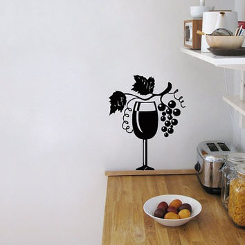 Wall Vinyl Decal Sticker  Wine Glass with Grapes  Art Design Cafe Kitchen Room Nice Picture Decor Hall Wall Chu1108