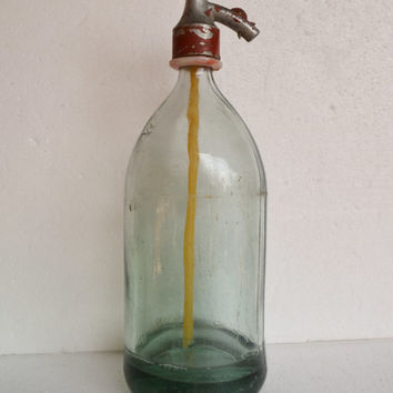 Vintage Seltzer Bottle, 1950's  Green Glass Soda Seltzer Siphon Bottle with RED Serpent Spout, Retro Bar Ware, Gift Idea