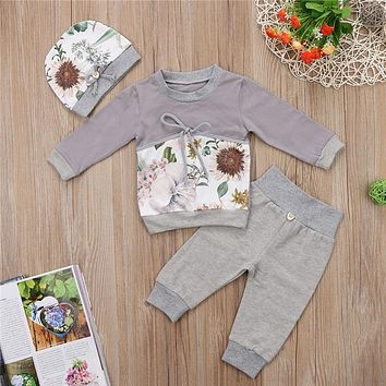 Kids Girls Winter Clothes Toddler Baby Clothing Sets Newborn Baby Girl Boy Flower Long Sleeve T shirt Pant Hat 3pcs Outfits Set