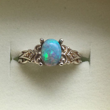 Australian Opal Ring - Vintage Style Black Opal Ring with Diamonds - Blue Green Genuine Opal Silver Ring - 14K Optional - CUSTOM