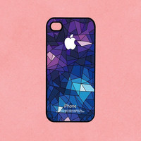 Apple Icon On Geometric Pattern For iphone 4 case , iphone 4s case, iphone 5 case , samsung Galaxy S3 case, ipod touch 4 case