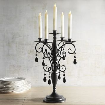 Jewel Candelabra Taper Holder - Black