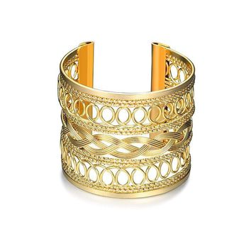 Fashion Gold Plated Hollow Pattern Bangle Upper Arm Cuff Armlet Armband Bangle