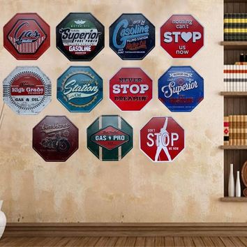 Vintage Stop Sign Metal Tin Garage Rustic Cafe Bar Home Decor Man Cave