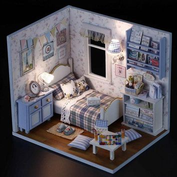 DCCKL72 1PCS Happy Series DIY Wooden Doll House Room Box Handmade 3D Miniature Dollhouse Wood Educational Toys Girl Gifts