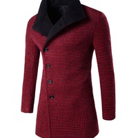 Houndsthooth Men Long Coat