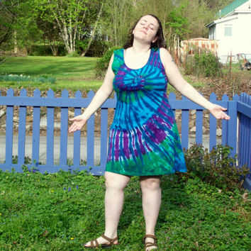 S M L XL 2X 3XL Tie Dye Dress- Adult and Plus Size Tie Dye Dress- Peacock Tie Dye Tank Dress