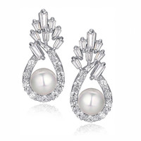 Shell Pearl W. Baguette and Round Cubic Zirconia Earrings