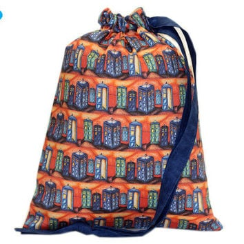 NEW Project Bag | Doctor Who | Knitting Bag | TARDIS | Sock Knitting Bag