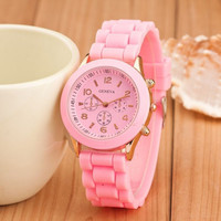 Factory outlets drop shipping wrist watches women men geneva watch couple watches rubber candy jelly fashion unisex silicone quartz 10PCS
