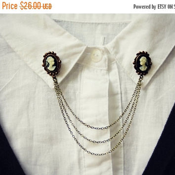AFTER CHRISTMAS SALE cameo collar pins, collar chain, collar brooch, lapel pin, cameo pin, cameo brooch