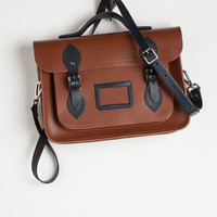 Safari, Travel, Rustic, Scholastic Cambridge Satchel Company Bag in Brown Navy - 13 by The Cambridge Satchel Company from ModCloth