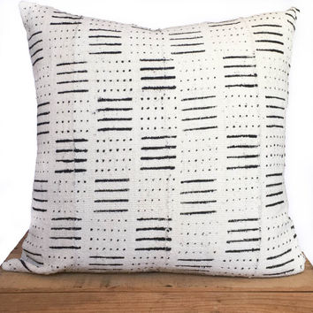"18"" Inch White African Mud Cloth Pillow Cover"