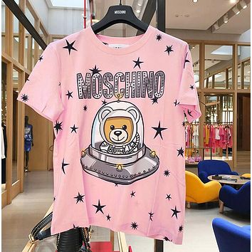 MOSCHINO Trending Women Men Cute Print Pure Cotton T-Shirt Top Blouse Pink