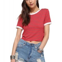 Horizontally Striped Crop Top