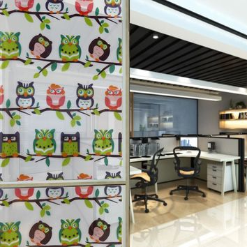 Cartoon Animals Owl Design Decorative Films Self Adhesive Static Privacy Glass Bathroom Window PVC Static Film 45x100cm