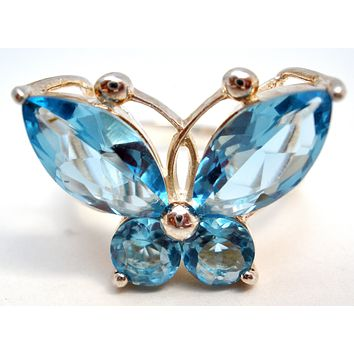 Blue Butterfly Ring Sterling Silver Size 7
