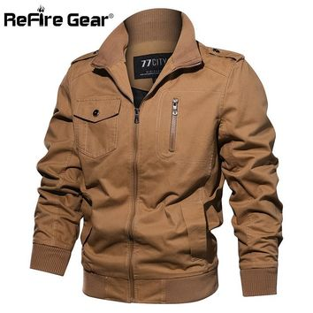 Trendy ReFire Gear Tactical Military Jacket Men Autumn Air Force Pilot Army Jackets Casual Winter Cotton Motorcycle Flight Bomber Coat AT_94_13