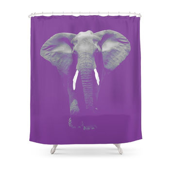 Society6 Purple Elephant Shower Curtain
