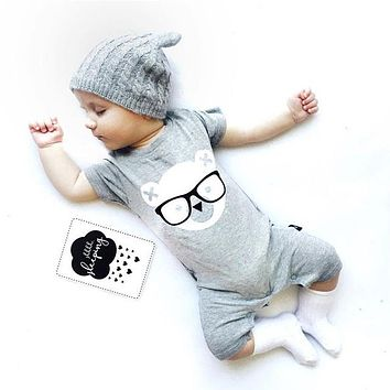 Infant Boys Bear With Glasses One Piece Pants Set