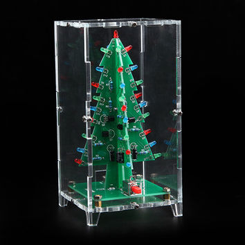 Christmas Tree LED Flash Kit With Transparent Cover DIY Electronic Kit