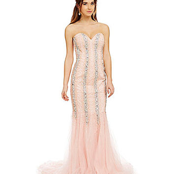 Glamour by Terani Couture Stripe Jeweled Trumpet Gown | Dillards.com