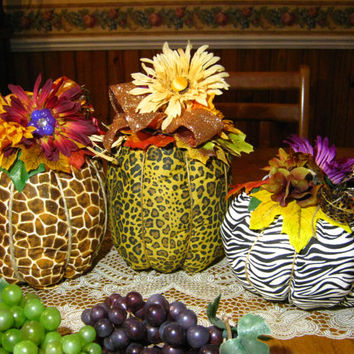 Handmade Pumpkins, Fall Decor, Animal Print Pumpkins, Thanksgiving Decor, Housewares