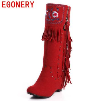 EGONERY shoes 2017 national leather boots winter australian boots retro tassels snow boots height increasing knee high boots