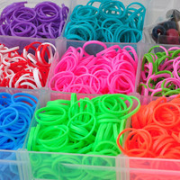 clear case double colors or Strong elastic Rainbow loom refill bands For kids DIY rubber bracelets-come with  about 3700 colorful bands