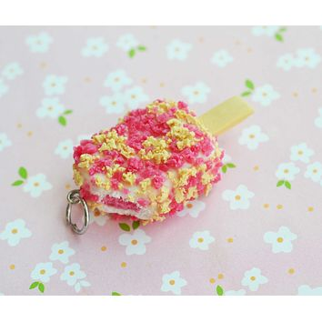 Strawberry Short Cake Ice Cream Bar Charm, Stitch Marker, Key Chain, Polymer Clay