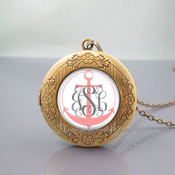 Anchor Monogram Photo Locket Necklace,vintage pink pendant Necklace-ALL Can changed![Font style,Anchor color,Font color,Background color...]