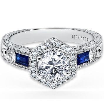 "Kirk Kara ""Charlotte"" Hexagon Halo Blue Sapphire Baguette Engagement Ring"