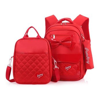 3PCS/set Princess School Bags red bow Canvas Orthpedic Backpack for Children High Quality Waterproof Students Travel Backpack