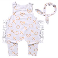 2017 Fashion Newborn Baby Girl Clothes Summer Sleeveless Tassel Romper Playsuit +Headband 2PCS Outfit Toddler Kids Clothing
