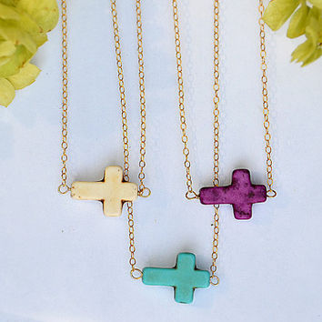 10%off - Sideways Turquoise Cross Necklace - tiny horizontal cross - Kelly Ripa, Kourtney Kardashian