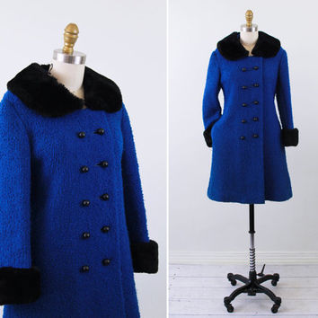 vintage 1960s 60s coat // Blue Boucle Winter Coat with Black Faux Fur Collar and Bauble Buttons