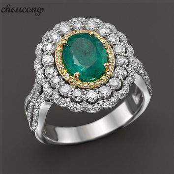 choucong Luxury Promise ring Green AAAAA Zircon Cz 925 sterling silver Anniversary Wedding Band Rings for women men Jewelry