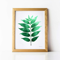 Botanical art print, Green art Modern Home wall print, Leaf artwork, Plant decor, Dark green print, Emerald green decor Instant DOWNLOAD art