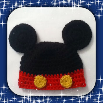 Crochet Baby Mickey Mouse Beanie