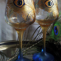 Set of 2 Hand Painted wine glasses Peacock feathers in gold and blue
