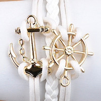 White Nautical Anchor Bracelet from Monica's Closet Essentials
