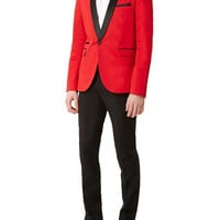 Red Black Contrast Skinny Tux - TOPMAN USA