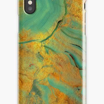 'Teal and Golden Marble Gem Stone Pattern' iPhone Case by Quaintrelle