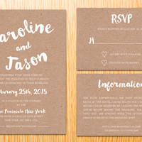 Rustic Kraft Paper Wedding Invitation Announcement Wedding Suite Set Kit Minimal Modern Handwritten Calligraphy Font Digital Printable