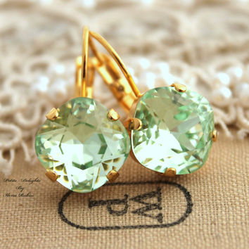 Clear Mint green seafoam Crystal leverback earring - 14k Gold plated hook earrings real swarovski rhinestones .